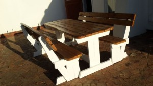 White & Brown Benches