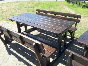 Dark outdoor benches
